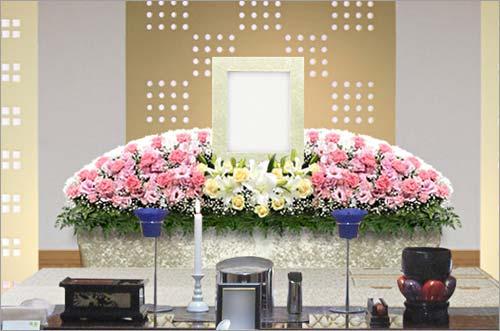 新座市営墓園 の家族葬30花祭壇イメージ