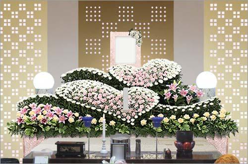 新座市営墓園 の家族葬43花祭壇イメージ1